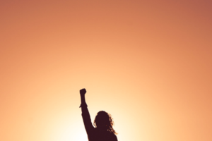 The silhouette of a woman holding up a power fist in front of an orange and yellow background.
