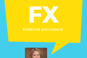 "A headshot of Lori Novak with a speech bubble that reads ""FX: Foreign Exchange"""