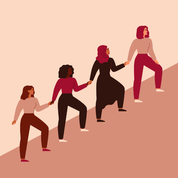An illustration of 4 women holding hands as they ascend a mountain together.